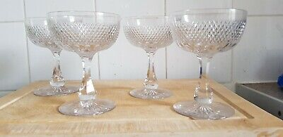 Victorian Coupe Champagne Glasses With Saucer Bowls. Hand Made, Cut Glass. • 68£