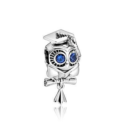 WISE OWL Graduation University College European Charm & Gift Pouch - Silver Tone • 5.94£