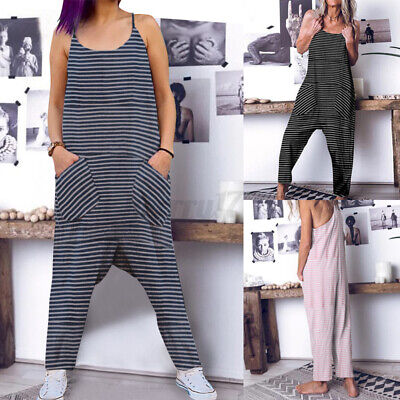 UK Women Sleeveless Strappy Baggy Jumpsuit Playsuit Dungaree Harem Trousers 8-26 • 9.99£