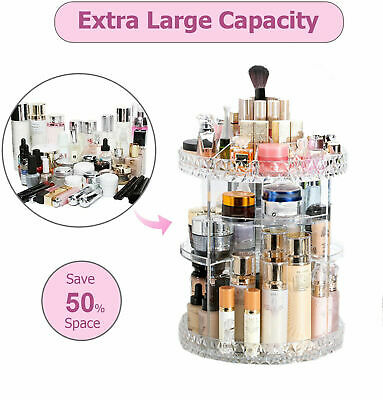 360 Rotating Makeup Organiser Case Cosmetic Storage Box Perfume Display Stand • 10.39£