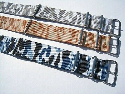 £3.25 • Buy Camouflage Nylon Military Style Watch Strap.16mm To 24mm Fast Delivery From UK