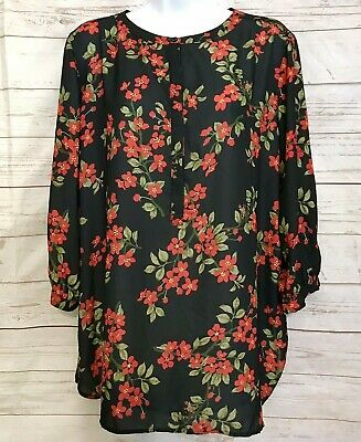$14.45 • Buy WOMAN WITHIN Floral Shirt 3/4 Sleeve Top Henley Pullover Womens Plus Size 14/16