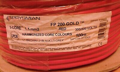 Prysmian FP200 Gold Red 3 Core & Earth 1.5mm 100mtrs Harmonised Colours Free P&P • 100£