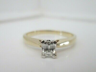 18ct Yellow Gold Millennium Cut .36ct Solitaire Diamond Engagement Ring Size O • 400£