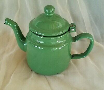 $18 • Buy Vintage 1930s Small Green Small Enamel Hinged Teapot Tea Pot