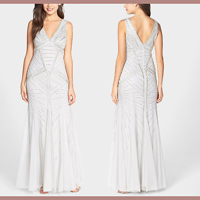 $140.39 • Buy NEW $520 Aidan Mattox Beaded V-Neck Trumpet Gown In Silver [SZ 12 ] #M117