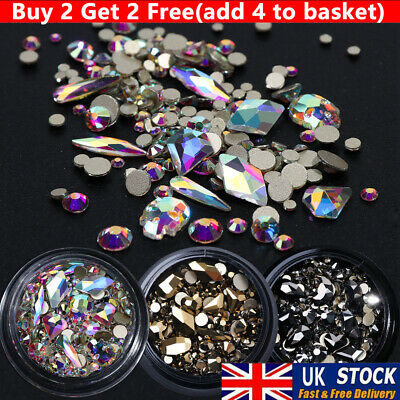 3D Mixed Nail Art Rhinestones Crystal Gems Jewelry Gold AB Shiny Stones Decor UK • 4.25£