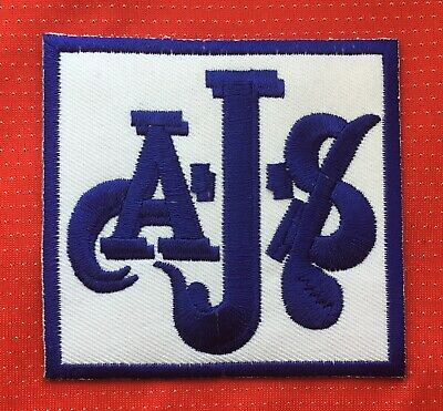 Ajs Motorcycle Classic British Vintage Bike Biker  Badge Iron Sew On Patch Blue • 2.99£