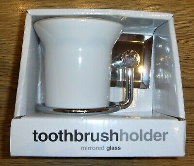 Chrome Wall Mounted Mirrored Glass Toothbrush Holder - New In Pack • 9.99£