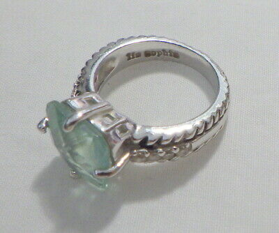 $ CDN12.23 • Buy Lia Sophia Pretty Silver Ring W, Aqua Crystal Stone Size 7 1/8