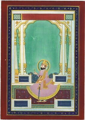 $999.99 • Buy Hand Painted Miniature Portrait Of Maharaja Man Singh Indian Painting On Paper