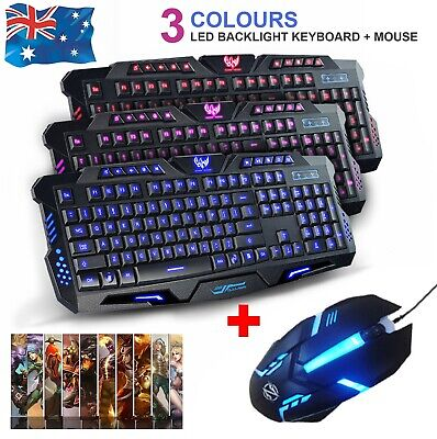 AU29.99 • Buy Pro Gaming Keyboard And Mouse Combo Set LED Wired USB For PC Laptop Xbox
