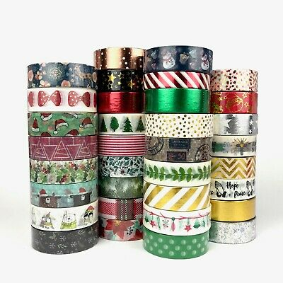 AU5.50 • Buy Christmas Washi Tape X-mas Foil Snowman Reindeer Santa Hats Mistletoe Tree Bulk
