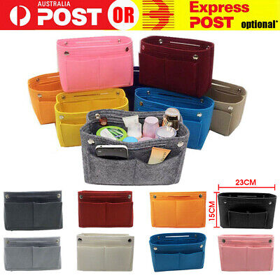 AU14.75 • Buy Travel Organiser Handbag Felt Bag Tote Insert Liner Purse Pouch Women Storage AU