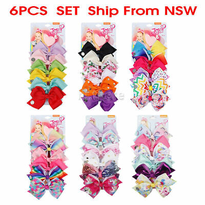 AU11.95 • Buy 6pcs 5.6inch Signature For Jojo Siwa Bows Girls Hair Accessories Cheerleader