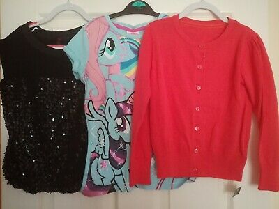 3 Girls Age 7 & 7-8 Tops Inc BNWT Cardigan & My Little Pony • 3£