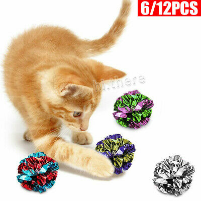 AU7.55 • Buy 6/12 MylarCat Crinkle Balls Kitty Fun Toy Interesting Crinkly Sounds Soft Light