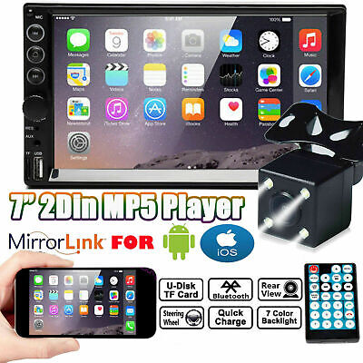 $99.99 • Buy 7'' Double 2DIN Car Radio Video Stereo FM Camera Mirror Link For GPS Android IOS