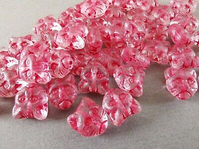 Czech Glass Clear Pink Cat Head Animal Kitty Pressed Beads 11 Mm Pack Of 10 • 2.10£