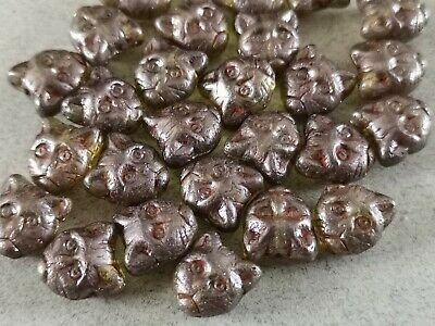Czech Glass Patina Green Cat Head Animal Kitty Pressed Beads 11 Mm Pack Of 10 • 2.10£