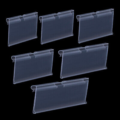 50PCS Clear Plastic Merchandise Retail Price Tag Label Holder Double Hook • 10.36£