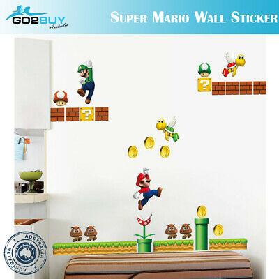 AU9.99 • Buy DIY Wall Stickers Removable Super Mario Game Kids Mural Room Decal Gift Vinyl