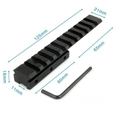 125mm Length Dovetail 11mm Weaver Picatinny Rail 20mm Adapter Scope Mount Base • 12.99£