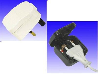 1 X WHITE 240v PLUG Adapter Adaptor From EURO 2 Pin To UK 3 Pin 5A Fused • 3.99£