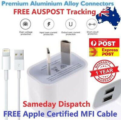 AU8.99 • Buy Dual Plug USB Wall Charger Power Adapter & MFi Cable For IPhone 5678X 11Pro IPad