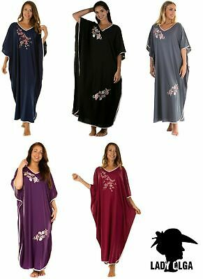 Womens Long Kaftan Embroidered Floral Jersey Nightwear Ladies UK One Size NEW • 18.98£