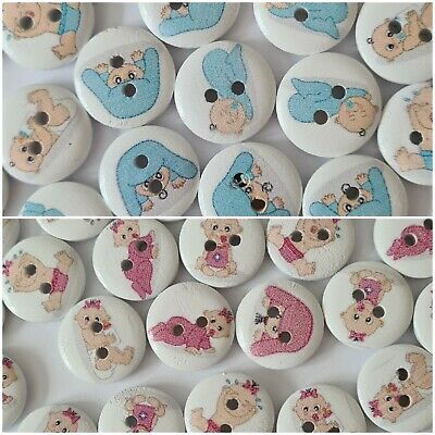 $4.07 • Buy 12 Baby Patterned Buttons Size 15mm - Pinks And Blues
