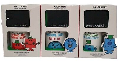 Mr. Men Ceramic Mug & Socks Mr. Strong Mr.Greedy Mr.Grumpy Christmas Men's Gift  • 13.92£