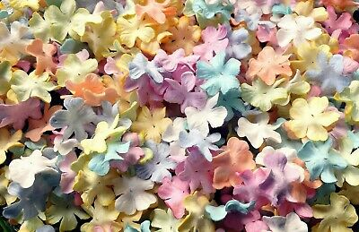 50 Pcs. Mixed Pastel Flowers Mulberry Paper Scrapbooking Wedding For Craft & DIY • 4.50£