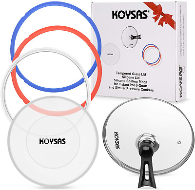 $43.01 • Buy KOYSAS Tempered Glass And Silicone Lids For Instant Pot 6 Quart Plus Pack Of 3 S