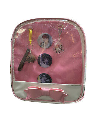 $37.95 • Buy Kpop Bts  Backpack 12  Pink And White  With 3 Pin & 2 Keychain
