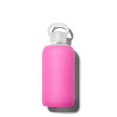 Bkr Glass Water Bottle BPA Free Silicone Sleeve Little Baby Hot Pink 500ml New  • 29.92£