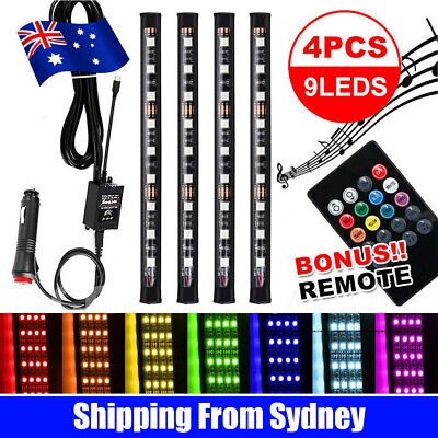 AU10.75 • Buy 4X 12V 9LED RGB Car Interior LED Strip Lights Wireless Remote Control Music
