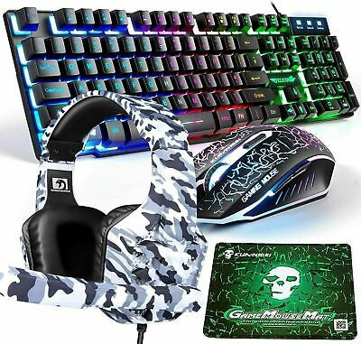 AU39.46 • Buy AU 4in1 Gaming Combo Rainbow Gaming Keyboard And Mouse + Headset For PS4 Blue