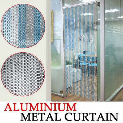 Aluminium Door Fly Screen Metal Chain Curtain Silver Commercial For Home Office • 33.99£