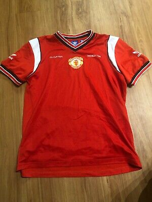 $75 • Buy Adidas Manchester United Wembley 1985 FA Cup Final Soccer Jersey Mens Large