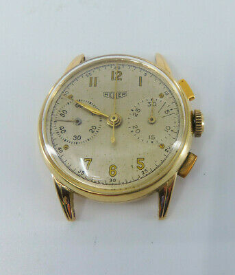 $ CDN1020.56 • Buy Vintage Heuer **14k Yellow Gold** Chronograph Wristwatch Fully Signed!!
