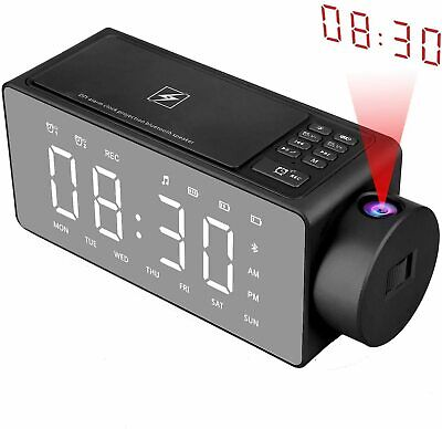 AU127.95 • Buy Htterino Projection Alarm Clock Bluetooth Speaker With Wireless Charging DIY Rin