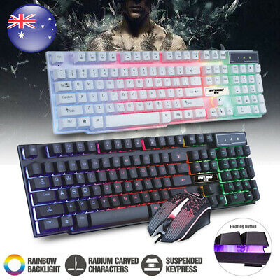 AU26.89 • Buy RGB Rainbow Luminous Backli Gaming Keyboard Mouse Set Wired USB PC Laptop Game