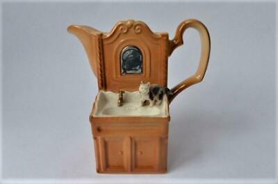 British  Pottery Park Rose Bridlington,  Cat On  Mirrored Wash Stand Jug • 24.99£