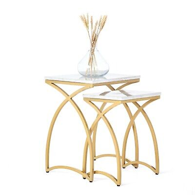 £59.99 • Buy Penguin Home Marble Top Nesting Coffee Tables With Gold Painted Iron Steel Frame