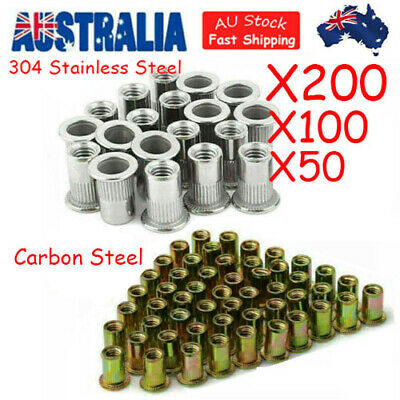 AU16.99 • Buy 200/100X M8 M6 Insert Rivet Nut 304 Stainless Steel Flat Head Nutsert Kit Carbon
