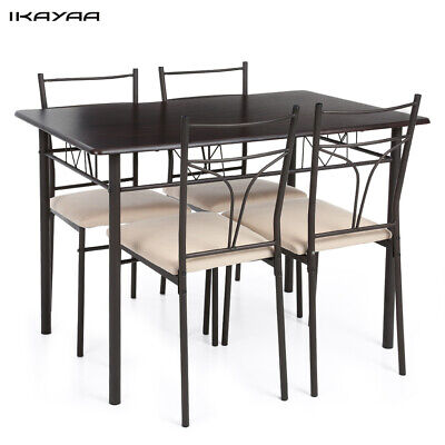 $135.99 • Buy 5PCS Modern Dining Table With 4 Chairs Set Metal Frame Home Kitchen Furniture US