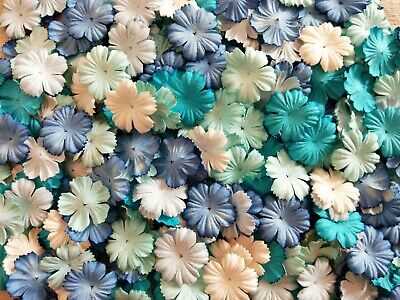 50 Pc. Carnation Flowers Mulberry Mixed Blue Tone & White Paper For Craft & DIY • 4.50£