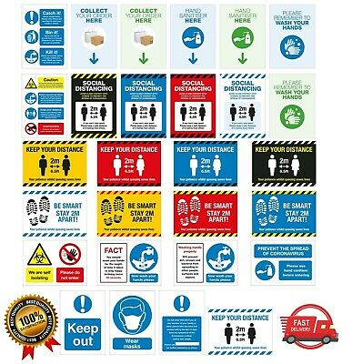 £5 • Buy Health And Safety Social Distance Wash Sanitise Hands 2 Metres NHS Poster Signs