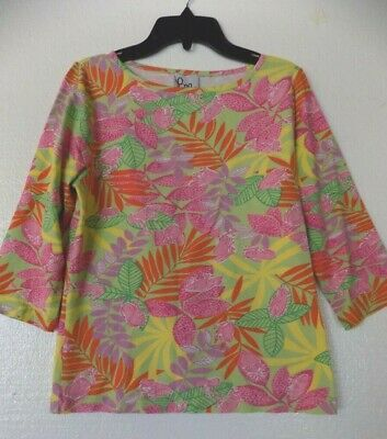 $22.99 • Buy Lilly Pulitzer Floral Print With Frogs 3/4 Sleeve Stretch Viscose Top Small EUC
